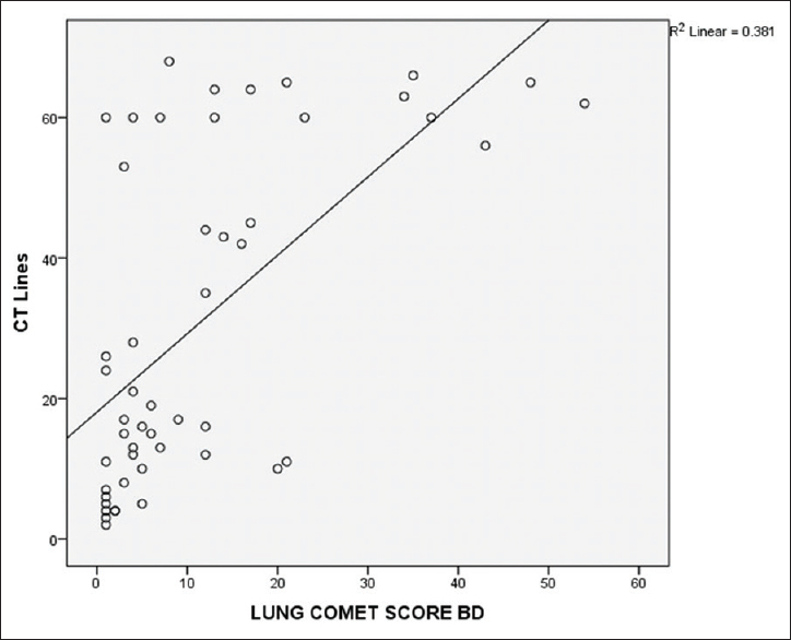 Figure 8: Correlation between lung sonographic comets and smooth interlobular septal thickening (computed tomography lines) in high-resolution computed tomography